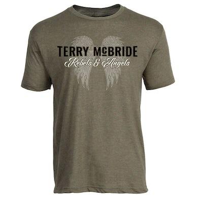 Terry McBride HeatherMilitary Green Rebels & Angels Tee