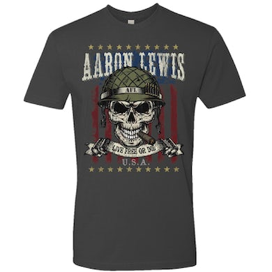 Aaron Lewis Live Free Or Die Heavy Metal Grey Tee