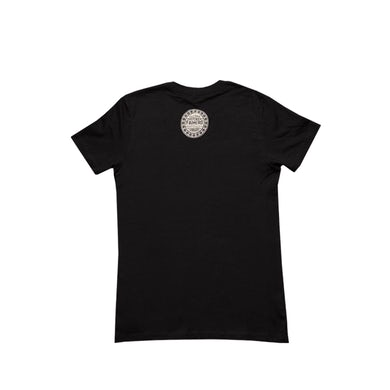 Willie's Reserve Logo on a Black Next Level 3900 Women's SS Tee