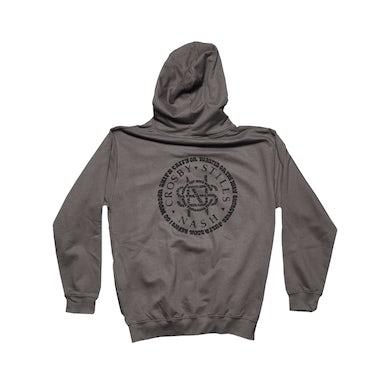 Crosby, Stills & Nash Dark Grey Zip Hoodie-Song Titles Circle Logo