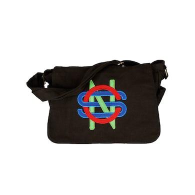 Crosby, Stills & Nash Black Messenger Bag-Initials Logo