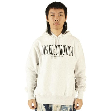 100% Electronica Champion® Logo Hoodie Sliver Gray - SS20
