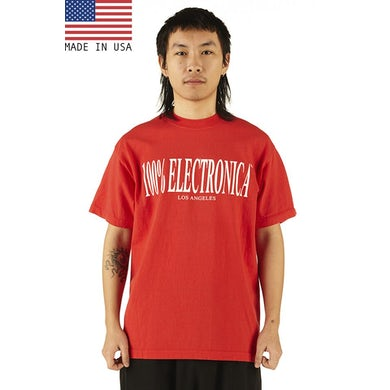 """100% Electronica """"Los Angeles"""" White/Red Oversized™ Tee - SS20"""