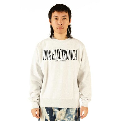 100% Electronica Champion® Logo Crewneck Silver Gray - SS20