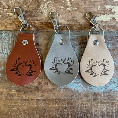 "Left Alone ""Heart Logo"" Leather Branded Key"