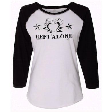 "Left Alone ""Heart Logo"" Womens Baseball Shirt Black Sleeve"