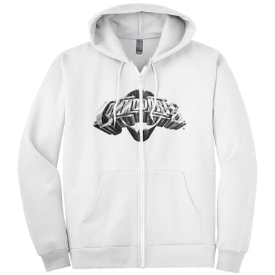Classic Logo Zip-Up Hoodie (White / Silver)