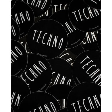 Rave Clothing Techno Sticker rund