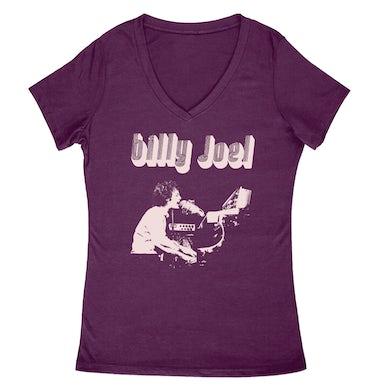 Billy Joel Purple Vintage Photo Womens V Neck