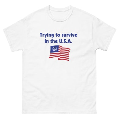 """David Morris """"Tryna Survive In The USA"""" T-Shirt (WHITE)"""