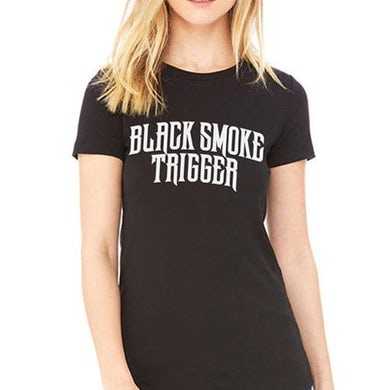 Womens Black Smoke Trigger Logo T-Shirt