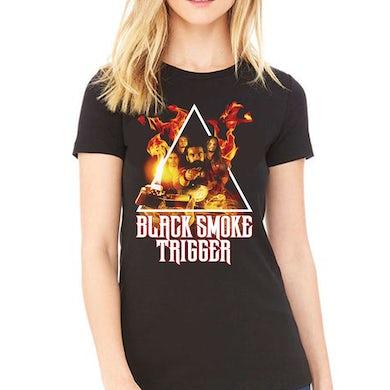 Womens Black Smoke Trigger Photo Art Shirt