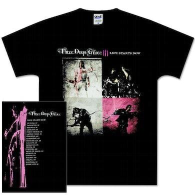 Three Days Grace Slashback Photo Dateback Black T-Shirt