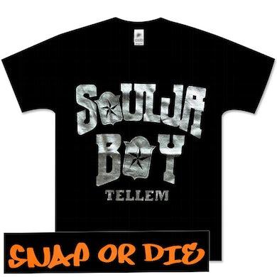 Soulja Boy Tell 'Em in Silver Snap or Die on Back Tee