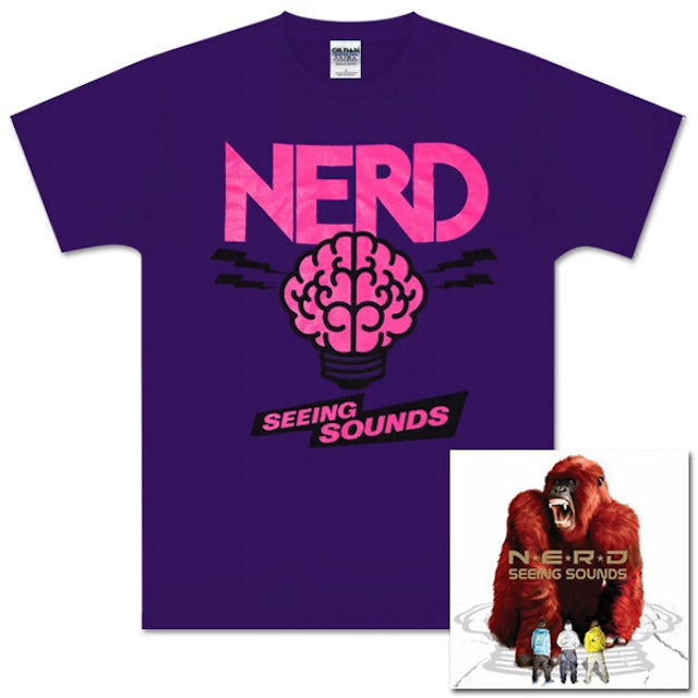 N.E.R.D. Seeing Sounds CD and Purple Brain T-Shirt Bundle