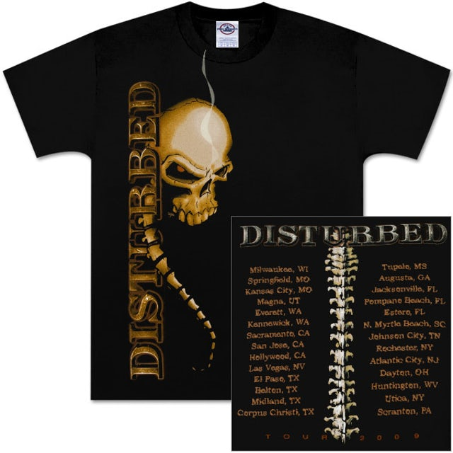 Disturbed Spine Skull 2009 Tour T-Shirt