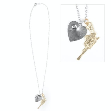 Semi Precious Weapons Gun & Heart Necklace