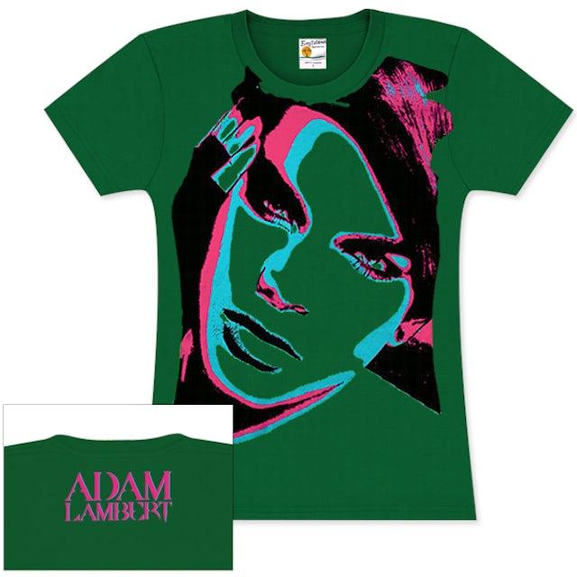 Adam Lambert STARS GREEN GIRLIE T-SHIRT