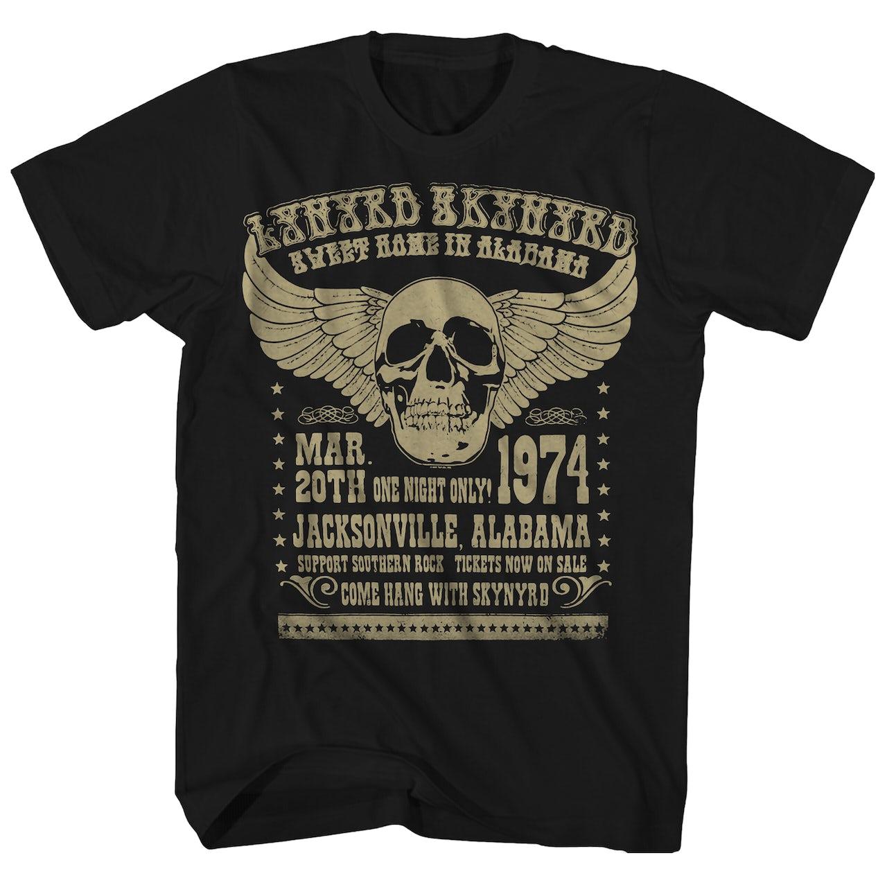 lynyrd skynyrd t shirt 74 alabama concert lynyrd skynyrd t shirt reissue. Black Bedroom Furniture Sets. Home Design Ideas