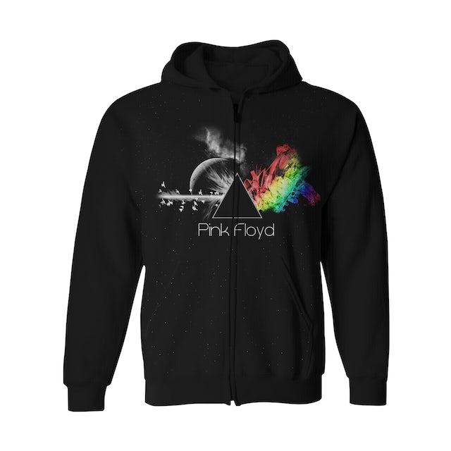 Pink Floyd Zip-Up Hoodie | Dark Side Prism Spectrum Pink Floyd Hoodie