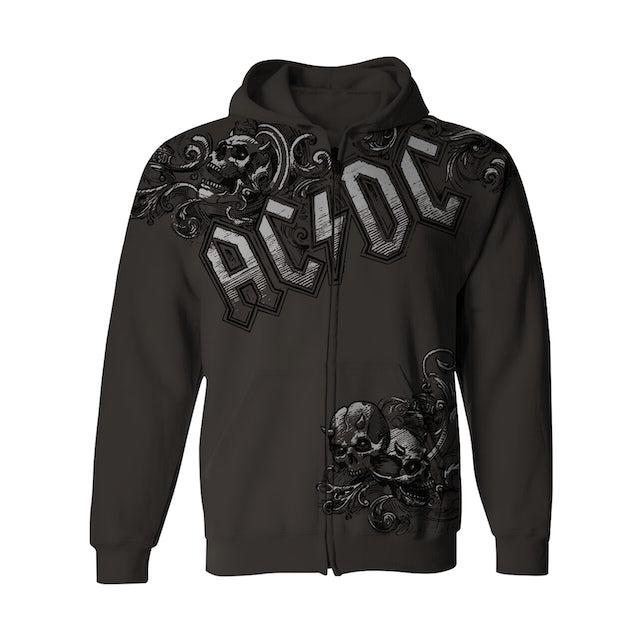 AC/DC Zip-Up Hoodie | Horned Skulls AC/DC Hoodie