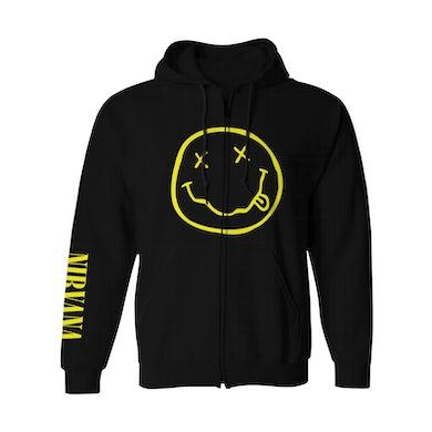 Nirvana Zip-Up Hoodie | Classic Smile Logo Nirvana Hoodie