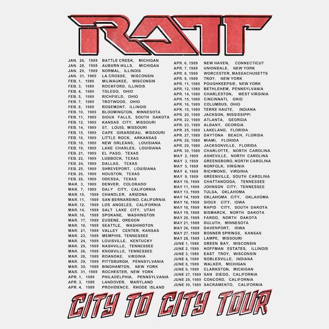 Ratt T-Shirt | City To City Tour '89 Ratt Shirt (Reissue)