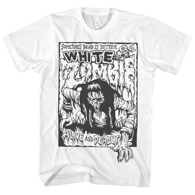 White Zombie T-Shirt | Alive And Deadly White Zombie Shirt