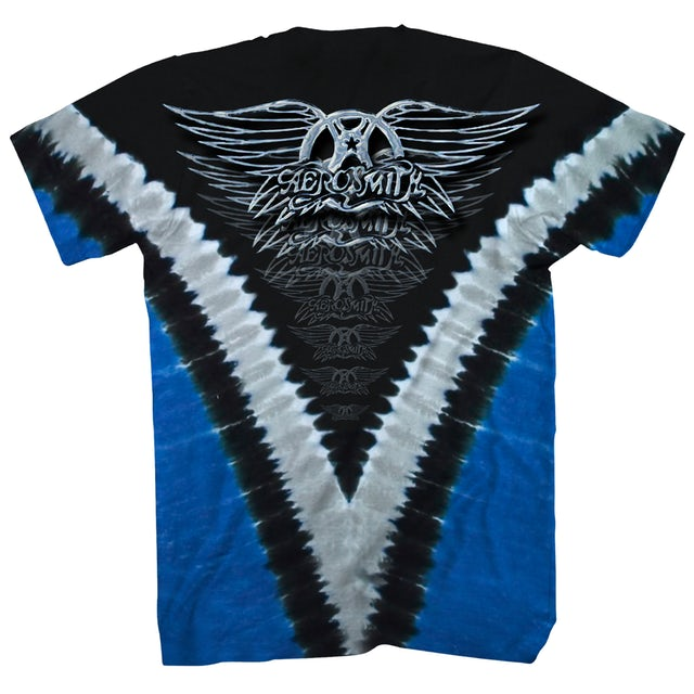 Aerosmith T-Shirt   Guitar Logo V Tie Dye Aerosmith Shirt