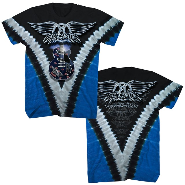 Aerosmith T Shirt Guitar Logo V Tie Dye Aerosmith Shirt