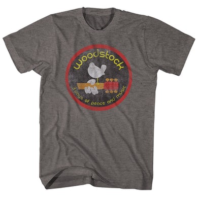 Woodstock T-Shirt   3 Days Of Peace And Music Heather Woodstock Shirt