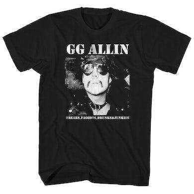 GG Allin T-Shirt | Freaks, Faggots, Drunks And Junkies Album Art GG Allin Shirt