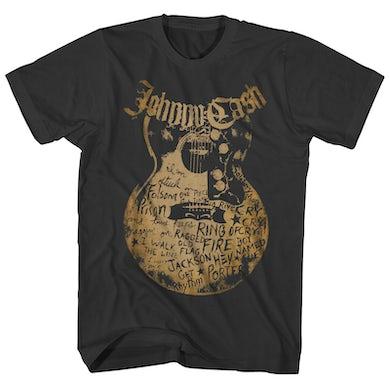 Johnny Cash T-Shirt | Song Names On Guitar Johnny Cash Shirt