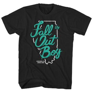 Fall Out Boy T-Shirt | Since 2001 Chicago, IL State Outline Fall Out Boy Shirt