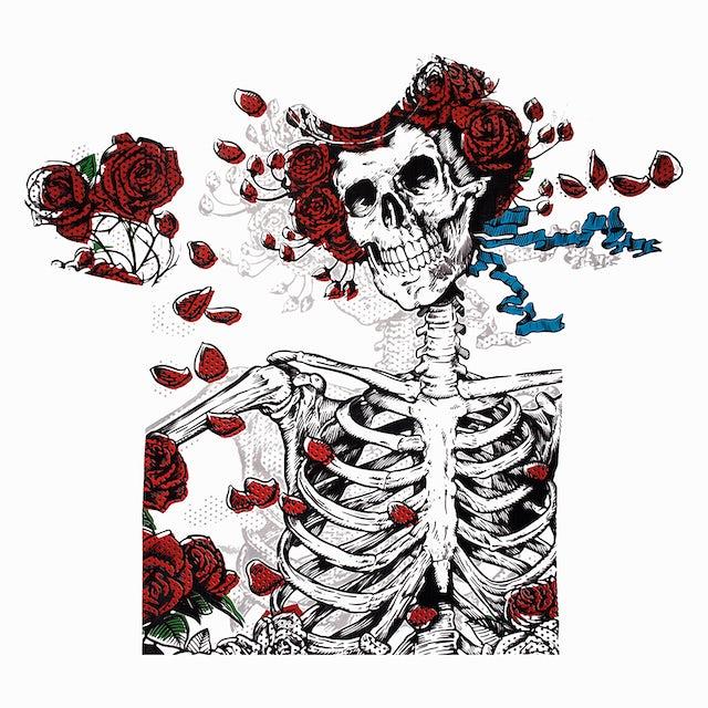 Grateful Dead T-Shirt | Woodcut Skeleton And Roses Grateful Dead Shirt