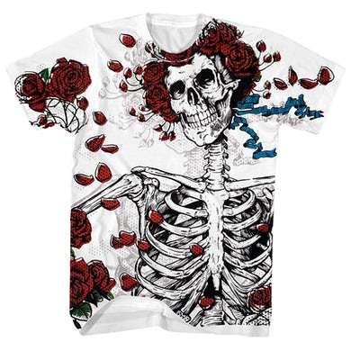 Woodcut Skeleton And Roses Shirt