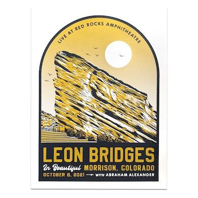 Leon Bridges Red Rocks Amphitheatre Morrison, CO Poster - October 6, 2021