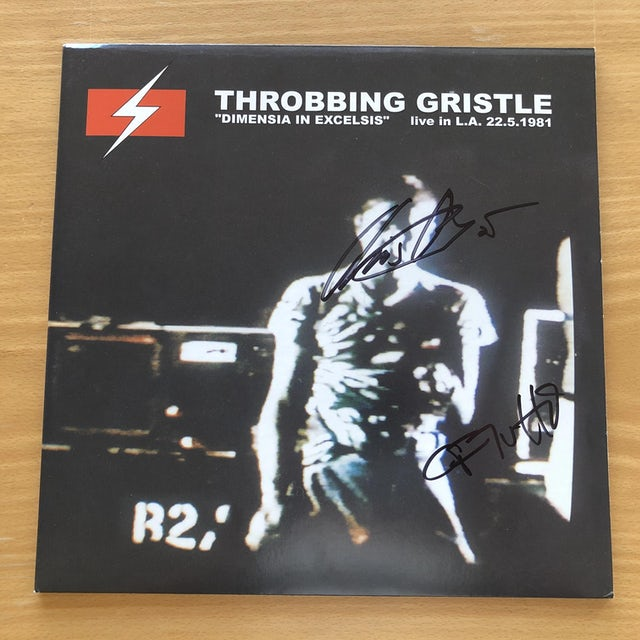 THROBBING GRISTLE Dimensia In Excelsis: Live In L.A. 22.5.1981' Vinyl LP Signed by C&C Vinyl Record