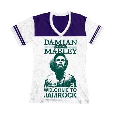 Damian Marley Welcome to Jamrock Women's Football T-Shirt