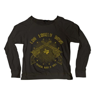 """Texican Rock'n'Roll"" Women's Long Sleeve Black Scoop Neck T-Shirt"