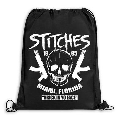 "Stitches ""Brick In Yo Face"" Drawstring Backpack"