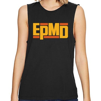 "Epmd Classic Logo"" Women's Black Raw-Edge Sleeveless Tank"