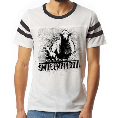 "Smile Empty Soul ""Sheep"" Football T-Shirt - Light Grey"