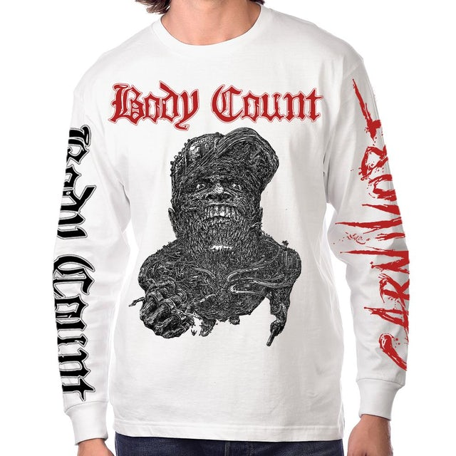 """Body Count """"Carnivore"""" Long Sleeve T-Shirt In White"""