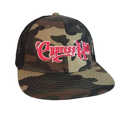 """Cypress Hill """"Script Logo"""" Snapback Hat in Green Camo"""
