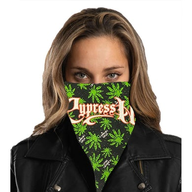 "Cypress Hill ""Script Logo"" Bandana in Cannabis Pattern"