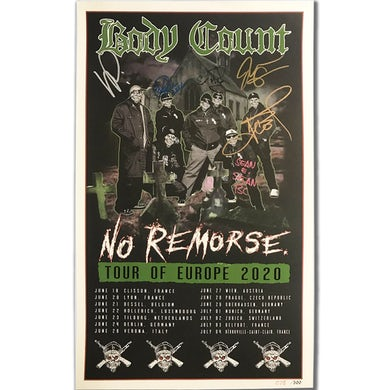 Body Count AUTOGRAPHED European Tour 2020 Poster
