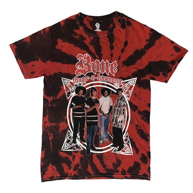 """""""Compass"""" T-Shirt in Red and Black Tie Dye"""