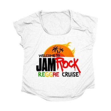 "Welcome To Jamrock 2015 ""Reggae Cruise"" White Event Women's Doleman T-shirt"