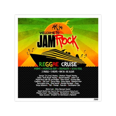 """Welcome To Jamrock 2015 """"Reggae Cruise"""" Event Litho Poster"""
